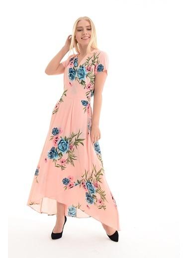 Sense Çiçekli Uzun Elbise Pudra